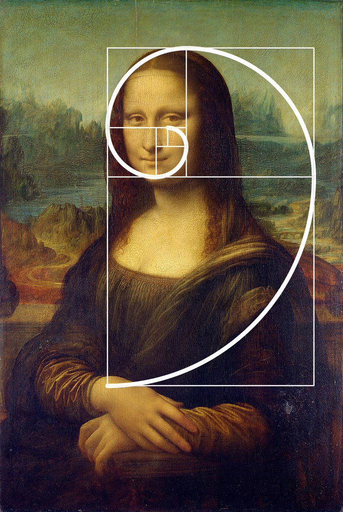 Golden ratio spiral in Mona Lisa painting