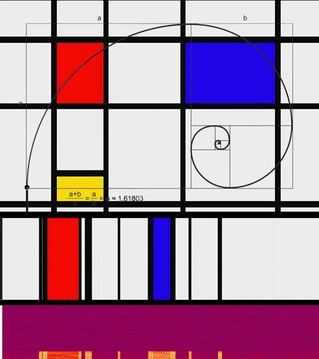 Golden Ratio in Piet Mondrian painting