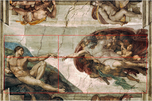 Golden ratio in Creation of Adam painting