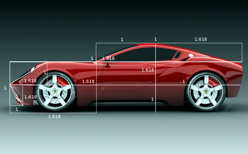 Golden ratio in a Ferrari car
